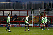 Disappointed Wimbledon players leave the pitch at full time during the EFL Sky Bet League 1 match between Accrington Stanley and AFC Wimbledon at the Fraser Eagle Stadium, Accrington, England on 1 February 2020.