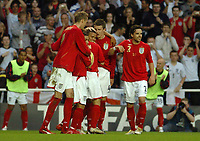 Photo: Richard Lane.<br />England 'B' v Belarus. International Friendly. 25/05/2006.<br />England players celebrate Jermaine Jenas' (C) goal.