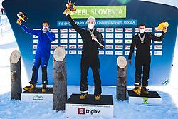 Roland Fischnaller (ITA) 2nd, Dmitry Loginov (RUS) 1st , Andrey Sobolev (RUS) 3rd during parallel giant slalom FIS Snowboard Alpine world championships 2021 on 1st of March 2021 on Rogla, Slovenia, Slovenia. Photo by Grega Valancic / Sportida