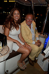 The Johnnie Walker Blue Label and David Gandy Drinks Reception aboard John Walker & Sons Voyager, St.Georges Stairs Tier, Butler's Wharf Pier, London, UK on 16th July 2013.<br /> Picture Shows:-Sarah Nilsson, Andrew Neil