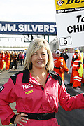 Dunlop BTCC Meeting at Silverstone northamptonshire.<br /> Co sponsor Hiq made the pink to raise money for breast cancer reseach. Bev Edwards won the chance to be a grid girl for the day