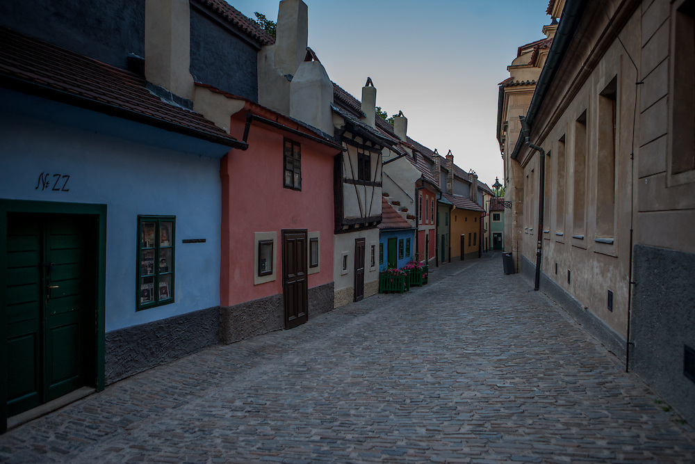 A view to the Golden Lane at Prague Castle shortly after it was closed by the Castle Guards in the evening. Franz Kafka lived in the blue house on the left, Nr. 22.