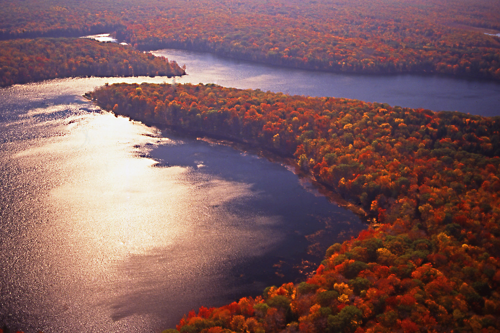Aerial, Lake, Autumn color, Promised Land State Park, Pike County, PA
