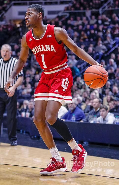 WEST LAFAYETTE, IN - JANUARY 19: Aljami Durham #1 of the Indiana Hoosiers dribbles the ball during the game against the Purdue Boilermakers at Mackey Arena on January 19, 2019 in West Lafayette, Indiana. (Photo by Michael Hickey/Getty Images) *** Local Caption *** Aljami Durham