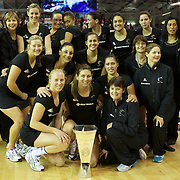 The Silver Ferns after their series victory over England after the New Zealand V England, New World International Netball Series, at the ILT Velodrome, Invercargill, New Zealand. 6th October 2011. Photo Tim Clayton...