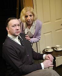 Plague of England<br /> by Nicholas de Jongh<br /> at the Finborough Theatre, London, Great Britain<br /> press photocall<br /> 27th February 2008<br /> <br /> <br /> Jasper Britton (as John Gielgud)<br /> Nichola McAuliffe (as Sybil Thorndike)<br /> <br /> Photograph by Elliott Franks