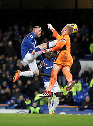 Everton's Wayne Rooney (left) in action during the Premier League match at Goodison Park, Liverpool.