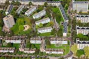 Nederland, Zuid-Holland, Den Haag, 09-05-2013; Mariahoeve, nieuwbouwwijk uit de jaren zestig ('60) van de vorige eeuw. Nadrukkelijke  wegenstructuur met hoofdverkeerswegen en ontsluitingswegen, verdeelt de wijk in buurten met verschillende woningtypes en overvloedige openbaar groen. Wederopbouwgebied.<br /> New residential area built in the sixties,  The structure of the roads divides the district into neighborhoods with different housing types and many public green areas.<br /> Reconstruction area.<br /> luchtfoto (toeslag op standard tarieven)<br /> aerial photo (additional fee required)<br /> copyright foto/photo Siebe Swart