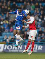 Gillingham's Jermaine McGlashan battles with Fleetwood Town's Adam Chicksen<br /> <br /> Photographer Stephen White/CameraSport<br /> <br /> Football - The Football League Sky Bet League One - Gillingham v Fleetwood Town -  Friday 3rd April 2015 - MEMS Priestfield Stadium - Gillingham<br /> <br /> © CameraSport - 43 Linden Ave. Countesthorpe. Leicester. England. LE8 5PG - Tel: +44 (0) 116 277 4147 - admin@camerasport.com - www.camerasport.com
