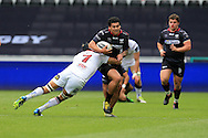 Josh Matavesi of the Ospreys tries to go past the tackle from Chris Henry of Ulster. Guinness Pro12 rugby match, Ospreys v Ulster Rugby at the Liberty Stadium in Swansea, South Wales on Saturday 7th May 2016.<br /> pic by  Andrew Orchard, Andrew Orchard sports photography.