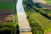 Nederland, Limburg, Gemeente  Sittard-Geleen, 27-05-2013; Julianakaal met vakwerkbrug naar Obbicht.<br /> Bridge Julianacanal.<br /> luchtfoto (toeslag op standard tarieven);<br /> aerial photo (additional fee required);<br /> copyright foto/photo Siebe Swart.