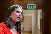 Jo Swinson, Leader of the Liberal Democrats speaks to the media after signing a declaration at a meeting of a cross-party group of MPs at Church House, London, United Kingdom on 27th August 2019. The declaration states they will continue to meet as an alternative House of Commons if Prime Minister Boris Johnson temporarily shuts down Parliament to get a no-deal Brexit through.