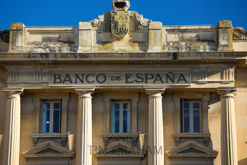 Bank of Spain, Banco de Espana, traditional architecture in the town of Haro in La Rioja province of Northern Spain