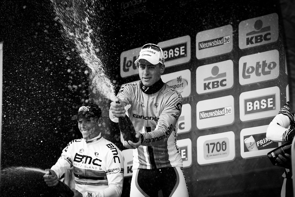 Peter Sagan, winner of Brabantse Pijl 2013, a spring semi-classic cycle race which takes place in the Flemish Brabant region of Belgium. behind him is runner up Philippe Gilbert. April 10, 2013.