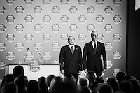 "ROME, ITALY - 24 JANUARY 2013: Silvio Berlusconi, former PM and leader of The People of Freedom party (PdL, Popolo della Libertà), and Angelino Alfano, Secretary of the party, sing the national anthem at the the PdL convention in which they will present the PdL candidates for the upcoming general elections in Rome, on January 25, 2013.<br /> <br /> A general election to determine the 630 members of the Chamber of Deputies and the 315 elective members of the Senate, the two houses of the Italian parliament, will take place on 24–25 February 2013. The main candidates running for Prime Minister are Pierluigi Bersani (leader of the centre-left coalition ""Italy. Common Good""), former PM Mario Monti (leader of the centrist coalition ""With Monti for Italy"") and former PM Silvio Berlusconi (leader of the centre-right coalition).<br /> <br /> ###<br /> <br /> ROMA, ITALIA - 24 GENNAIO 2013: Silvio Berlusconi, ex-premier e leader del Popolo della Libertà, e Angelino Alfano, segretario del partito, cantano l'inno di Mameli all'inizio della convention del PdL in cui verranno presentati i candidati PdL alle prossime elezioni politiche, a Roma il 24 gennaio 2013.<br /> <br /> Le elezioni politiche italiane del 2013 per il rinnovo dei due rami del Parlamento italiano – la Camera dei deputati e il Senato della Repubblica – si terranno domenica 24 e lunedì 25 febbraio 2013 a seguito dello scioglimento anticipato delle Camere avvenuto il 22 dicembre 2012, quattro mesi prima della conclusione naturale della XVI Legislatura. I principali candidate per la Presidenza del Consiglio sono Pierluigi Bersani (leader della coalizione di centro-sinistra ""Italia. Bene Comune""), il premier uscente Mario Monti (leader della coalizione di centro ""Con Monti per l'Italia"") e l'ex-premier Silvio Berlusconi (leader della coalizione di centro-destra).ROME, ITALY - 24 JANUARY 2013: Silvio Berlusconi, former PM and leader of The People of Freedom party, and Angelino Alfano, Secretary of the party, present the PdL candidates for the upcoming ge"
