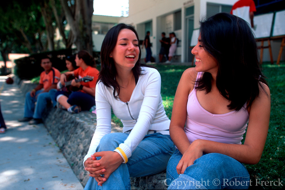 MEXICO, EDUCATION highschool students talking together on  the campus of the Centro Educativo in the  community of Cocoyoc near Cuernavaca