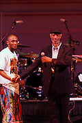 Gil Scott and Mos Def at Mos Def Presents: Amino Alkaline - The Watermelon Syndicate with special guest Gil Scott Heron, Produced by Jill Newman Productions held at The JVC JAZZ FESTIVAL/CARNEGIE HALL on JUNE 28. . A consummate emcee, vocalist, musician and actor, it was no surprise when Mos Def premiered the Mos Def Big Band in January 2007, drawing from original compositions plus material by Miles Davis, Beyoncé, James Brown and Gil-Scott Heron. Always willing to bend genres to create his own sound, Mos lithely dances among hip hop, jazz and soul while fronting his orchestra of savvy musicians. His face is as familiar as his sound; his acting credits include Be Kind Rewind, 16 Blocks, Something the Lord Made, Lackawanna Blues and Top Dog/Underdog.  America started hearing Gil Scott-Heron?s messages in 1970, but we heard him loudly and clearly when he declared ?The Revolution Will Not Be Televised? in 1974. A no-nonsense performer and lyricist, he wasn?t called a rapper then, but that?s what he was. Today, his younger counterparts and fans call him the king of spoken word.