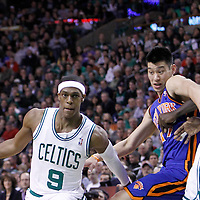 04 March 2012: Boston Celtics point guard Rajon Rondo (9) drives past New York Knicks point guard Jeremy Lin (17) on a screen set by Boston Celtics power forward Kevin Garnett (5) during the first half of Boston Celtics vs the New York Knicks at the TD Garden, Boston, Massachusetts, USA.