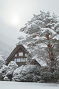 Scenic winter landscape with covered in snow house, Shirakawa-go, Japan