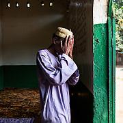 November 29th 2013, a Muslim at the friday prayer at the main mosk of Bangui.
