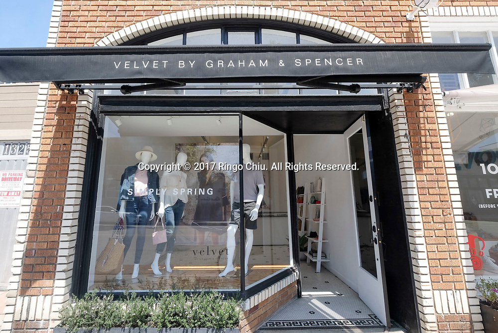 Velvet by Graham & Spencer store in Venice.(Photo by Ringo Chiu/PHOTOFORMULA.com)<br /> <br /> Usage Notes: This content is intended for editorial use only. For other uses, additional clearances may be required.
