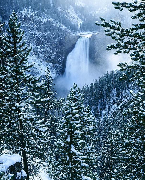Yellowstone Falls, winter, Yellowstone National Park, Wyoming, USA