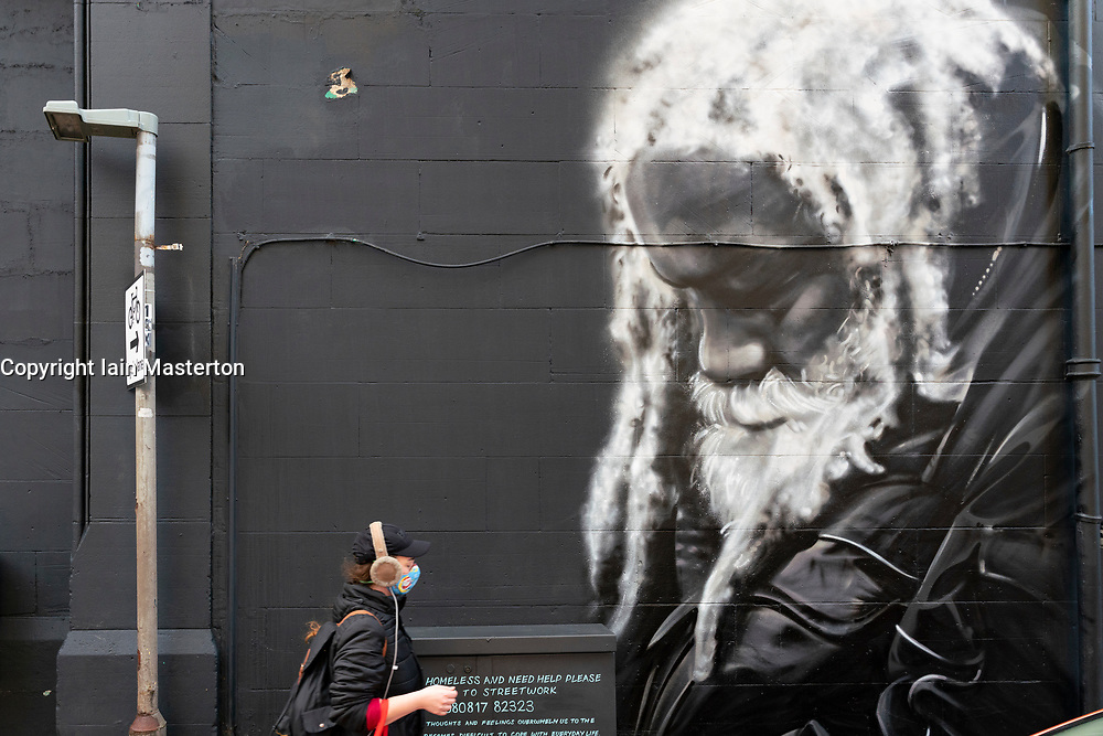 New mural of local long term homeless man Arthur Williams by Shona Hardie in Leith, Edinburgh, Scotland, UK