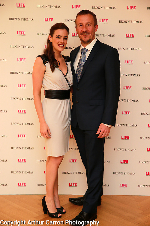 14/5/14 Brighid McCaul and Fintan Gavigan at the 10th Anniversary celebrations of Life Magazine at Brown Thomas in Dublin. Picture:Arthur Carron