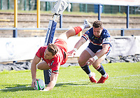Rugby Union - 2020 / 2021 IPA Greene King Championship - Doncaster Knights vs Saracens - Castle Park, Doncaster.<br /> <br /> Alex Lewington of Saracens scores a try to make it 5-3 to Saracens<br /> <br /> Credit : COLORSPORT/BRUCE WHITE
