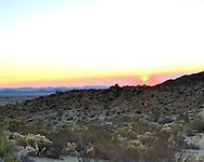 USA: California: San Bernadino County: Joshua Tree: Sunrise over the valley.