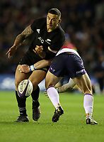 Rugby Union - 2017 Autumn Internationals - Scotland vs. New Zealand<br /> <br /> Sonny Bill Williams of New Zealand avoids Peter Horne of Scotland to play a kick through to Damian McKenzie of New Zealand for the second try at Murrayfield.<br /> <br /> COLORSPORT/LYNNE CAMERON