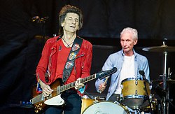 Ronnie Wood and Charlie Watts of The Rolling Stones perform on stage at Ricoh Arena on June 02, 2018 in Coventry, England. Picture date: Saturday 02 June, 2018. Photo credit: Katja Ogrin/ EMPICS Entertainment.