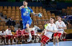 Blaz Janc of Slovenia during handball match between National Teams of Slovenia and Poland in Qualification Phase 2 of Men's EHF Euro 2022 Qualifiers, on March 9, 2021 in Arena Zlatorog, Celje, Slovenia. Photo by Vid Ponikvar / Sportida