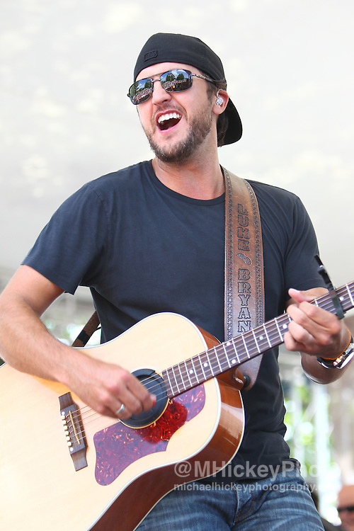 Country music artist Luke Bryan and his band performs in concert at the Brickyard 400 at the Indianapolis Motor Speedway. .Concert photography by Michael Hickey