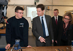 © Licensed to London News Pictures.  11/12/2014. Taunton, Somerset, UK.  Deputy Prime Minister Nick Clegg visits the engineering workshop at Somerset College to see its apprenticeship programme in action. it was announced earlier this week that the Liberal Democrats have fulfilled their commitment to starting 2 million apprenticeships this parliament.  Photo credit : Simon Chapman/LNP