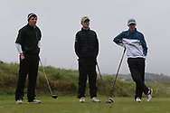 Joseph Byrne (Baltinglass), Ben Crawford (Greenacres) and Robert Walsh Jnr (Kinsale) on the 8th tee during Round 3 of the Ulster Boys Championship at Donegal Golf Club, Murvagh, Donegal, Co Donegal on Friday 26th April 2019.<br /> Picture:  Thos Caffrey / www.golffile.ie