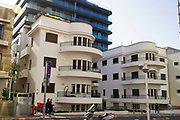96 HaYarkon street, Tel Aviv originally designed in 1935 by architect Pinchas Biezonski in Tel Aviv White City. The White City refers to a collection of over 4,000 buildings built in the Bauhaus or International Style in Tel Aviv from the 1930s by German Jewish architects who emigrated to the British Mandate of Palestine after the rise of the Nazis. Tel Aviv has the largest number of buildings in the Bauhaus/International Style of any city in the world. Preservation, documentation, and exhibitions have brought attention to Tel Aviv's collection of 1930s architecture.