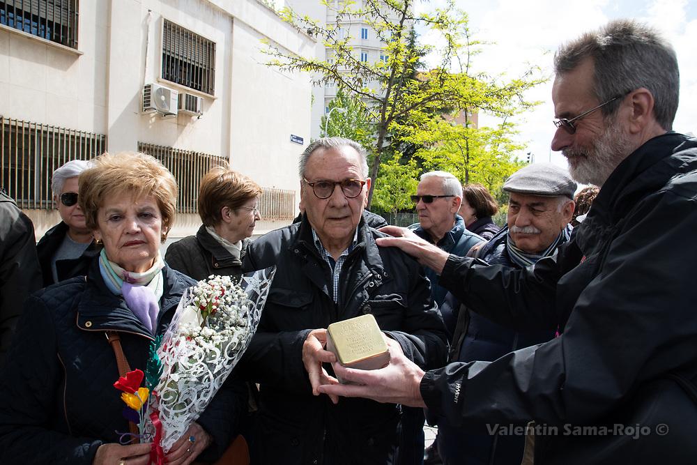 Madrid, Spain. 26th April, 2019. Eufemio Garcia Alavarez (C) receiving the Stolperstein in the memory Eufemio Garcia Garcia. © Valentin Sama-Rojo