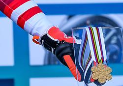 15.02.2021, Cortina, ITA, FIS Weltmeisterschaften Ski Alpin, Alpine Kombination, Herren, Siegerehrung, im Bild Goldmedaillen Gewinner und Weltmeister Marco Schwarz (AUT) // Gold Medalist and World Champion Marco Schwarz of Austria during the winner ceremony for the men's alpine combined of FIS Alpine Ski World Championships 2021 in Cortina, Italy on 2021/02/15. EXPA Pictures © 2021, PhotoCredit: EXPA/ Erich Spiess