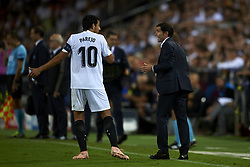 September 19, 2018 - Valencia, Spain - Marcelino Garcia Toral gives instructions to Daniel Parejo during the Group H match of the UEFA Champions League between Valencia CF and Juventus at Mestalla Stadium on September 19, 2018 in Valencia, Spain. (Credit Image: © Jose Breton/NurPhoto/ZUMA Press)