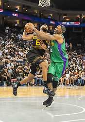 July 6, 2018 - Oakland, CA, U.S. - OAKLAND, CA - JULY 06:Alan Anderson (6) of the Killer 3s moves under the basket against Qyntel Woods (6) of 3 Headed Monsters during game 4 in week three of the BIG3 3-on-3 basketball league on Friday, July 6, 2018 at the Oracle Arena in Oakland, CA  (Photo by Douglas Stringer/Icon Sportswire) (Credit Image: © Douglas Stringer/Icon SMI via ZUMA Press)
