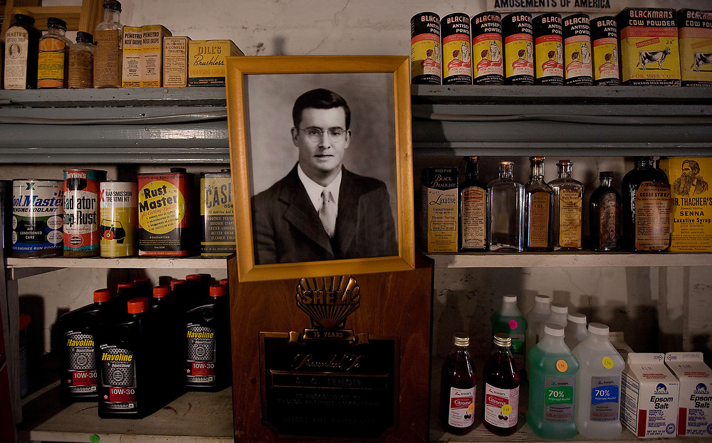 A photo of Samuel LeNoir dating from approximately 1940 hangs on a wall inside the store. Mr. LeNoir was known as a hardworking, honest man who dedicated his life to his family and their store. His handwriting can still be found on the price tags of some of the products surrounding him. Products that were once for sale haven't been moved since his death.