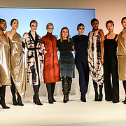 Designer Riona Treacy exhibition it latest collection at Fashion Scout LFW AW19 at Freemasons' Hall, London, UK. 15 Feb 2019