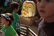 Children marvel at the carved pumpkin creations by Mike Valladao (Farmer Mike) in the Greenhouse on the Midway at the State Fair of Texas in Dallas October 1, 2010.