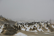 Theodore Roosevelt National Park lies in western North Dakota, where the Great Plains meet the rugged Badlands. It's great habitat for bison, elk and prairie dogs. The Little Missouri River flows through the park. Here, a late spring snow covers the landscape.