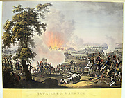 Napoleon at the Battle of Marengo, 14 June 1800. French forces under Napoleon defeated Austrians.  Engraving