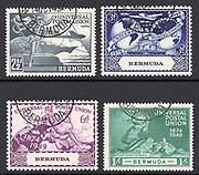 1949 used UPU [Universal Postal Union] set of Bermuda. Bermuda (The Somers Isles, or Islands of Bermuda) is a British Overseas Territory in the North Atlantic Ocean.
