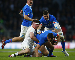 March 9, 2019 - London, England, United Kingdom - Tom Curry of England tackles Luca Morisi of Italy .during the Guinness 6 Nations Rugby match between England and Italy at Twickenham  stadium in Twickenham  England on 9th March 2019. (Credit Image: © Action Foto Sport/NurPhoto via ZUMA Press)