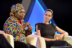 JOHANNESBURG, June 12, 2015  Hollywood actress Angelina Jolie (R) speaks with African Union (AU) Commission Chairwoman Nkosazana Dlamini-Zuma at a panel discussion during the 25th AU Summit in Johannesburg, South Africa, on June 12, 2015. Hollywood actress Angelina Jolie, acting in her capacity as the United Nations envoy on refugee issues, on Friday called for an end to violence against women. (Xinhua/DIRCO/Jacoline Schoonees) (Credit Image: © Jacoline Schoonees/Xinhua/ZUMA Wire)