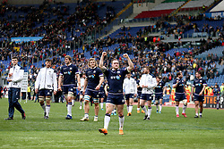 Scotland's Stuart Hogg celebrates after the final whistle during the NatWest 6 Nations match at the Stadio Olimpico, Rome.